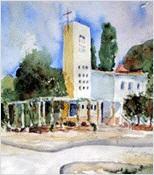 Aquarellbild: Eine weiß-hellgelbe Kirche mit einem hohen, eckigen Kirchturm, einigen Fenstern, einem Säulengang davor und Bäumen rundherum