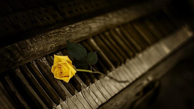 Die Tasten eines alten Klavieres, auf denen eine gelbe Rose liegt. Das Foto hat dunkle Ränder.