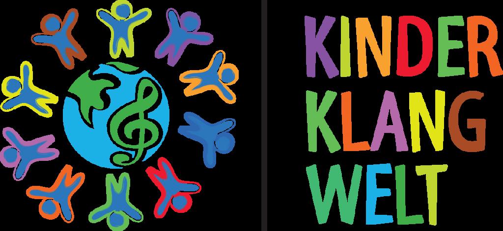 Links Erdkugel mit fröhlichen Menschen drumherum. Rechts bunter Text: Kinderklangwelt.